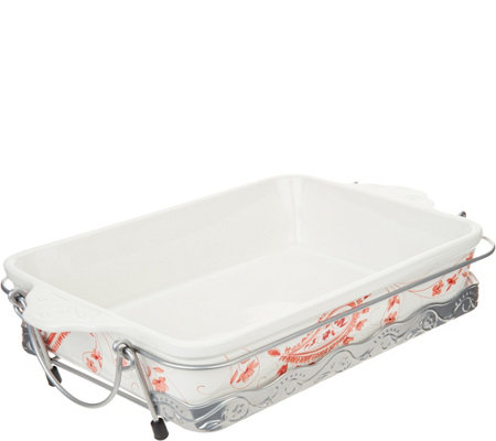 """As Is"" Cook's Essentials Alexandria 9x13 Ceramic Baker with Metal Rack"