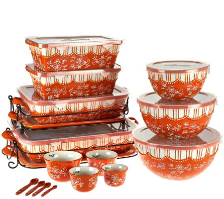 Temp-tations Floral Lace 20-piece Bakeware Set