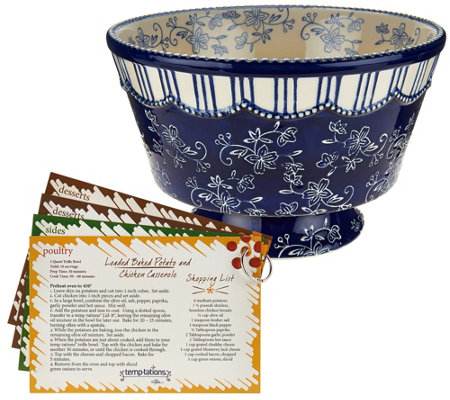 Temp-tations Floral Lace 3 qt. Trifle Bowl with Recipes
