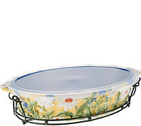 Temp-tations Figural Floral 3qt Oval Baker with Rack - K44201