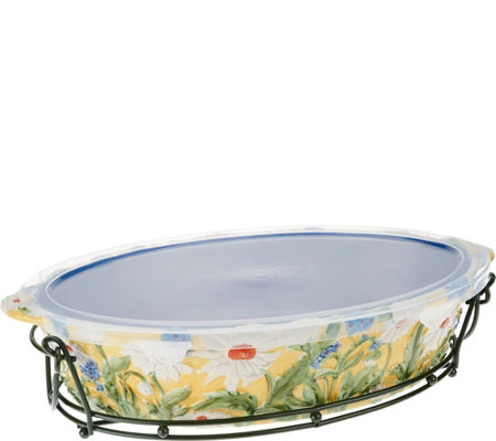 Temp-tations Figural Floral 3qt Oval Baker with Rack