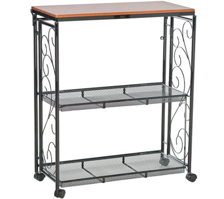 """As Is"" Cook's Essentials 3-Tier Collapsible Storage Cart"