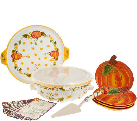 Temp-tations Figural Pumpkin Patch Bake & Serve Set with Recipes