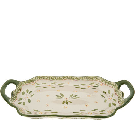 "Temp-tations Old World 18"" Scalloped Tray with Handles"