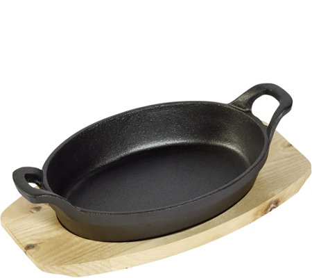 Basic Essentials Cast Iron Sizzle Set with Wooden Trivet