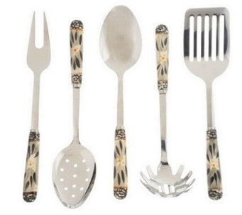 """As Is"" Temp-tations Old World Stainless Steel Utensil Set - K153304"