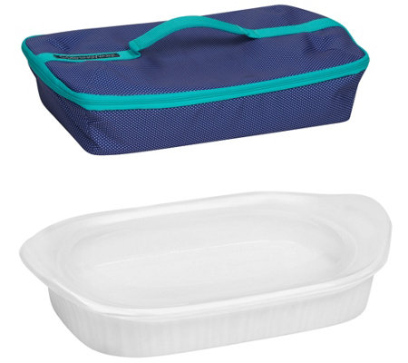 CorningWare French White 3qt Baker and Travel Bag
