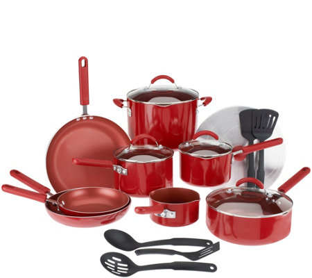 CooksEssentials 18-piece PorcelainEnamel Cookware Set w/DupontNonstic