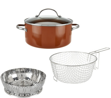 CooksEssentials 5qt Aluminum Covered Fry Pan with Fry Basket and Steamer