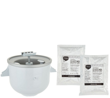 KitchenAid Ice Cream Maker Attachment with (2) Gelato Mix Packs