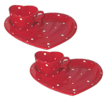 Temp-tations Polka Dot set of 2 Heart-Shaped Plate and Mug Set