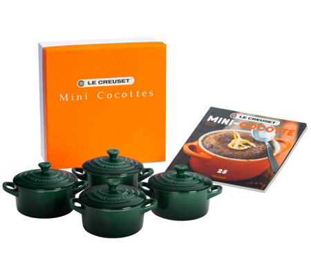 Le Creuset Set of 4 8-oz Cocottes with Cookbook