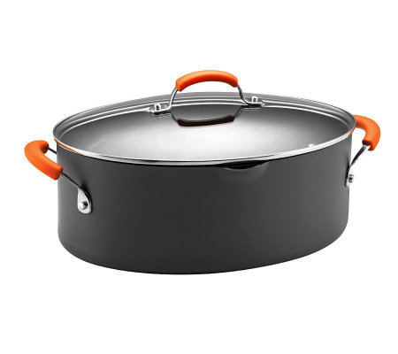 Rachael Ray Hard Anodized II 8qt Oval Pasta Pot- Orange