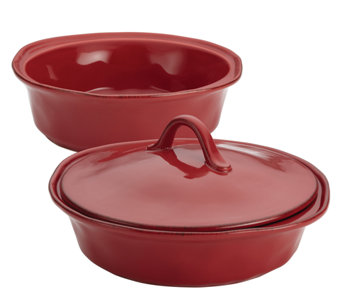 Rachael Ray Cucina Stoneware 3-Piece Round Baker And Lid Set - K303205