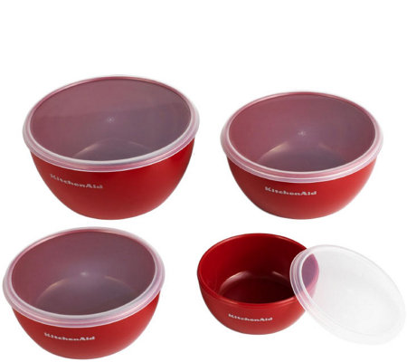 KitchenAid Set of 4 Red Prep Bowls