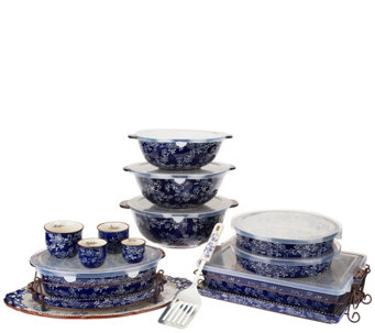 Temp-tations Floral Lace 18-pc Bake and Serve Set - K41206