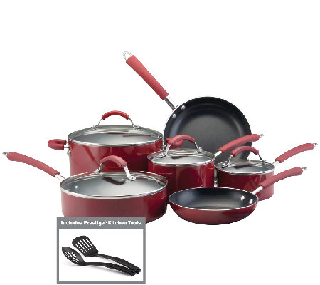 Farberware Millennium Aluminum 12-Piece Cookware Set - Red
