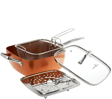 "Copper Chef 9.5"" Square Pan with Lid,Fry Basket, Steam Rack & Recipes"