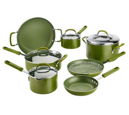 CooksEssentials 12-piece Cookware Set w/ Color Smart Nonstick