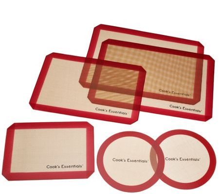 """As Is"" Cooks Essentials 6 pc Silicone Baking Mat Set"