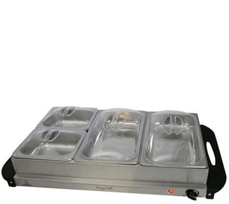 MegaChef Buffet Server and Food Warmer with 3 Sectional Trays