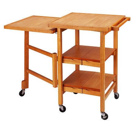 Folding Island Expandable Hardwood Kitchen Cart
