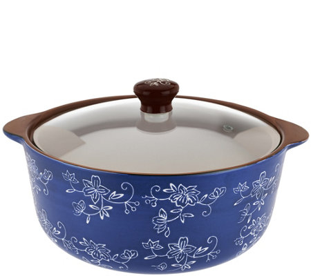 Temp-tations Floral Lace 2.5 qt. Round Stove Top Baker with Lid