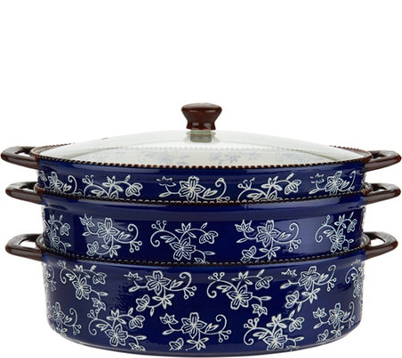 Temp-tations Floral Lace Cook & Look 3-Piece Oval Baker Set