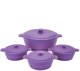 """As Is"" Cooks Essentials 4 pc Microwave Silicone Casserole Set - K307610"