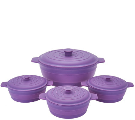 """As Is"" Cook's Essentials 4 pc Microwave Silicone Casserole Set"