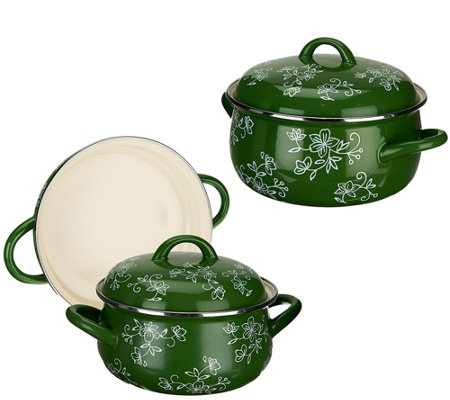 Temp-tations Floral Lace 5-piece Enamel Cookware