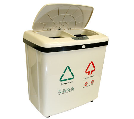 16-Gal 2-Compartment Plastic Touchless RecycleTrash Can NX