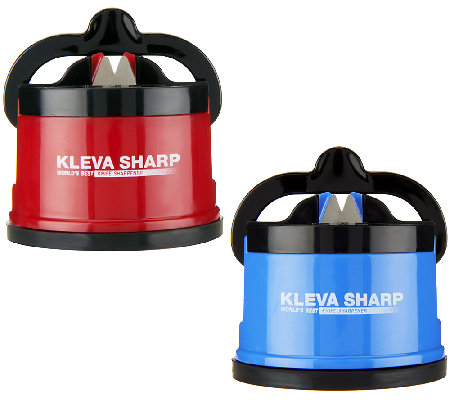 """As Is"" Kleva Set/2 Counter Top Knife Sharpeners w/Suction Base"