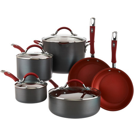 """As Is"" Cooks Essentials Hard Anodized 10 piece Cookware Set"