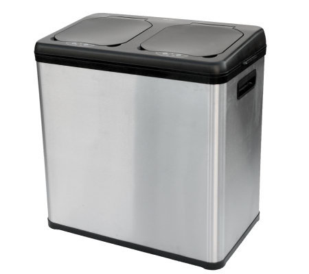 16-Gal 2-Compartment Stainless Steel TouchlessRecycling Can