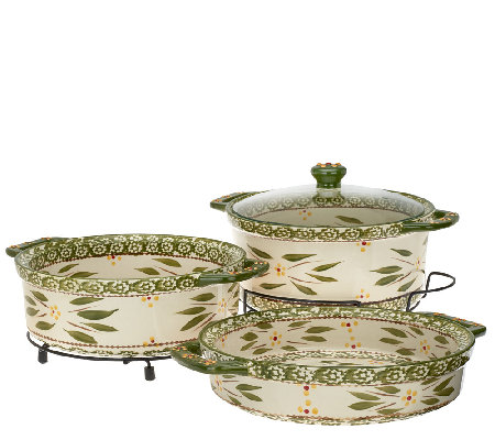 """As Is"" Temp- tations Old World Cook & Look 3pc Round Baker Set"