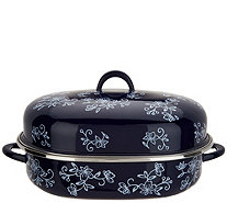Temp-tations Floral Lace Oval Covered Roaster with Rack - K46213