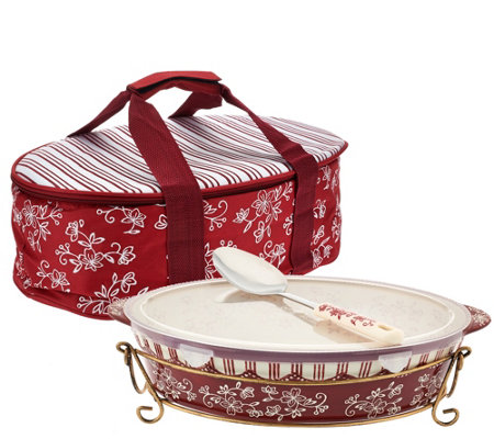 Temp-tations Floral Lace 3qt Pack n'Go Baker with Accessories