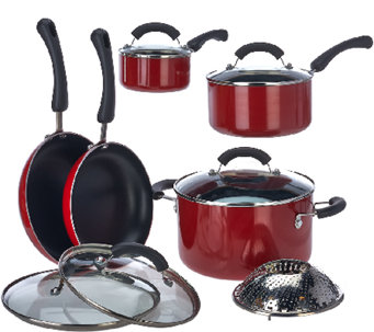 CooksEssentials Porcelain Enamel 11-piece Cookware Set - K43214
