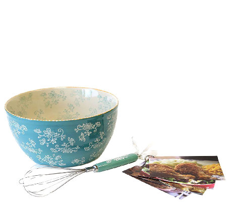 Temp-tations Floral Lace 4-qt Bowl with Whisk and Recipe Cards