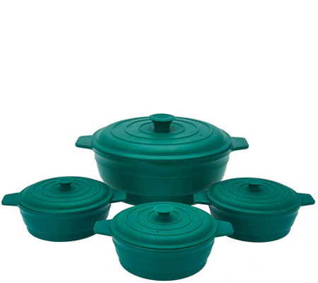 Cook's Essentials 4pc Microwave Silicone Casserole Set