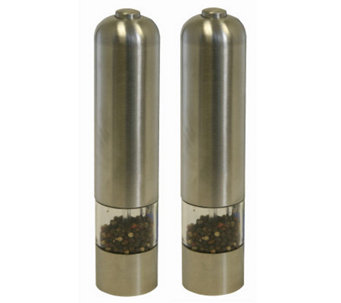Battery Powered Stainless Steel Salt and PepperMills - K126819