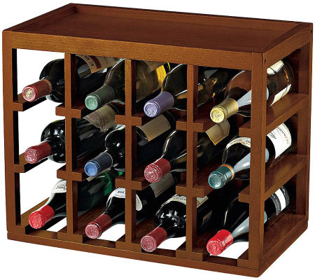 12-Bottle Cube-Stackable Hardwood Wine Rack  -Walnut Finish