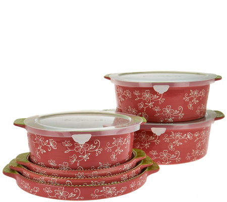 Temp-tations Floral Lace 6-piece Round Bake Set