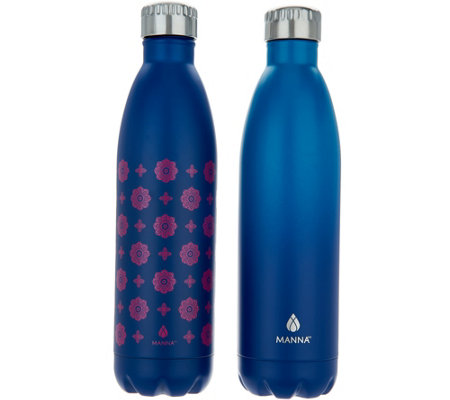 Manna Vogue S/2 25-oz Double Wall Stainless Steel Water Bottles