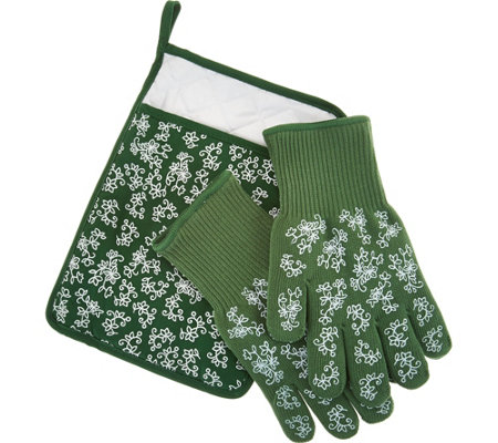 Temp-tations Floral Lace 3-piece Glove & Trivet Set