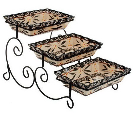 Temp-tations Old World Set of 3 Bake Trays w/Swivel Server