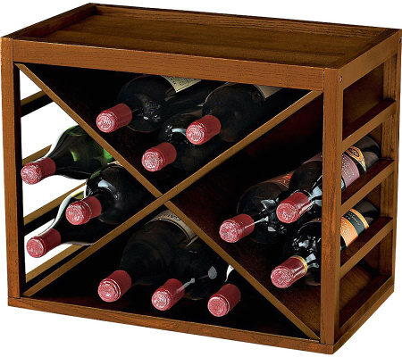 12-Bottle X Cube-Stackable Hardwood Wine Rack -Walnut Finish