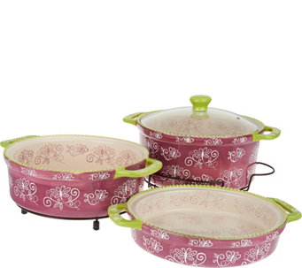 Temp-tations Floral Lace Cook & Look 3pc Round Baker Set - K41423