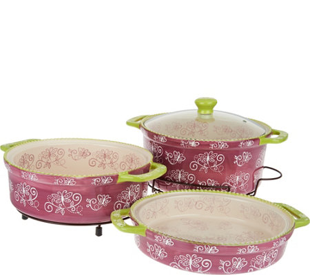 Temp-tations Floral Lace Cook & Look 3pc Round Baker Set